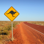 Kangaroo crossing sign represent E-3 visas for Australians for Denver immigration firm Shaftel Law